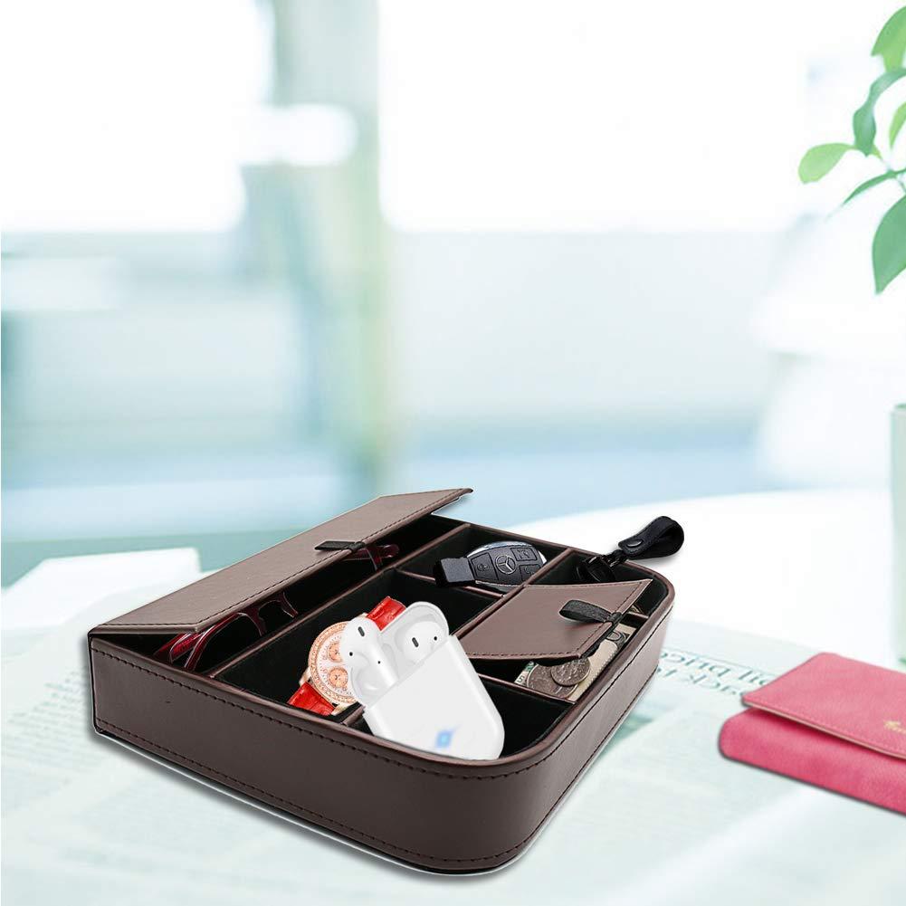 fosinz Mando a Distancia Soporte Organizador Piel Hilado Control de Almacenamiento Caddy TV Control Remoto Organizador con 5 Compartimentos espaciosos Gris