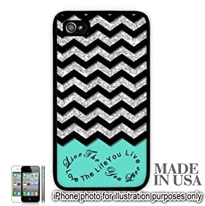 Live the Life You Love Infinity Quote (Not Actual Glitter) - Mint Black Chevron Pattern iPhone 4 4S Hard Case - BLACK by Unique Design Gifts