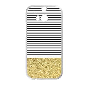 Canting_Good Simple Stripes Small Shiny Gold Custom Case Cover Shell for HTC One M8 (Laser Technology) by lolosakes by lolosakes