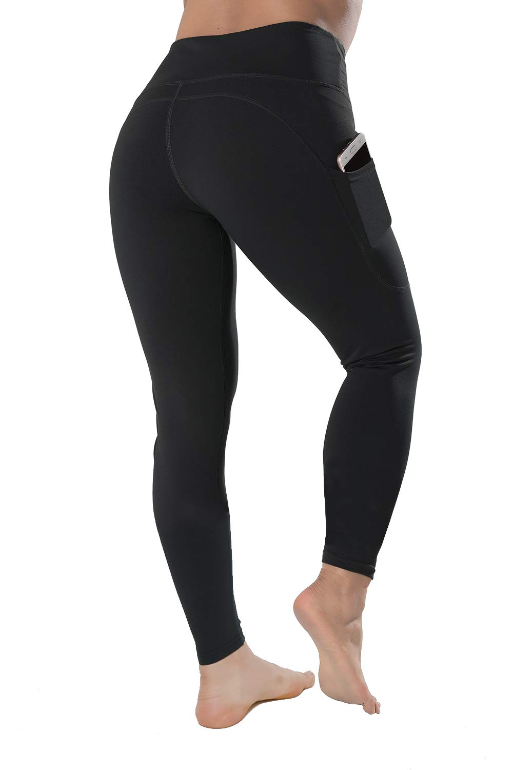 QYQ High Waisted Leggings with Pockets - Workout Leggings for Women Stretch Power Flex Yoga Pants - Full&Capri (Large, Black) by QYQ