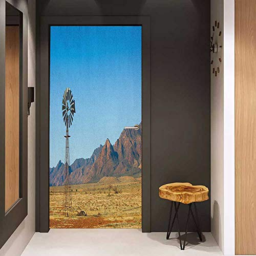 (Toilet Door Sticker Windmill Flinders Ranges South Australia Mountains Barren Land Summer Glass Film for Home Office W23.6 x H78.7 Earth Yellow and Pale Blue)
