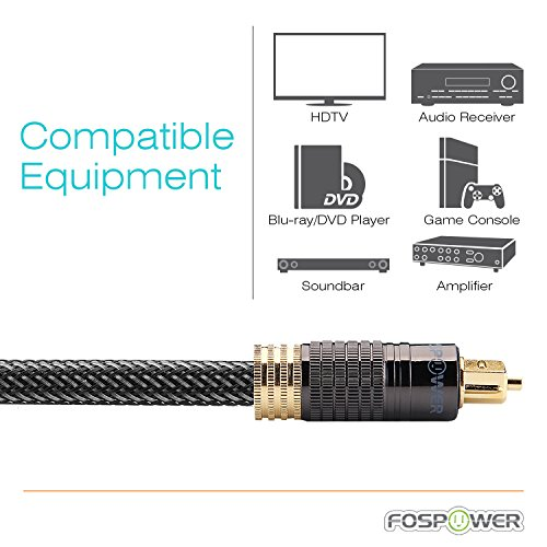 FosPower (25 Feet) 24K Gold Plated Toslink Digital Optical Audio Cable (S/PDIF) - [Zero RFI & EMI Interference] Metal Connectors & Ultra Durable Nylon Braided Jacket by FosPower (Image #7)