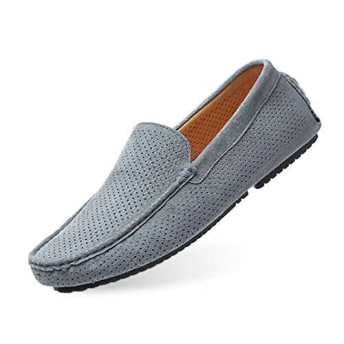 (UNN Mens Loafers Casual Boat Shoes Genuine Leather Slip On Driving Moccasins Hollow Out Breathable Flats (9, grey2))