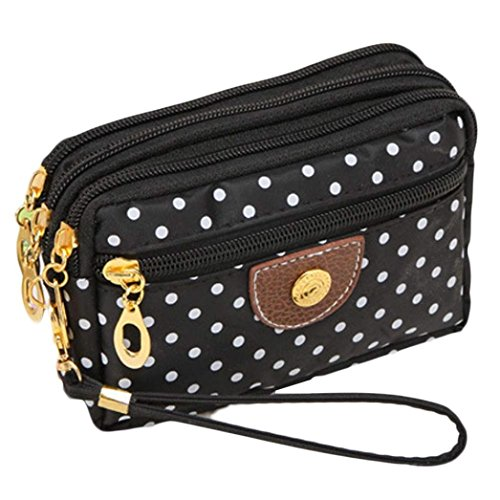 Ouneed Fashion Women Wristlets Bag Messenger Wave Canvas Zipper Bag Black