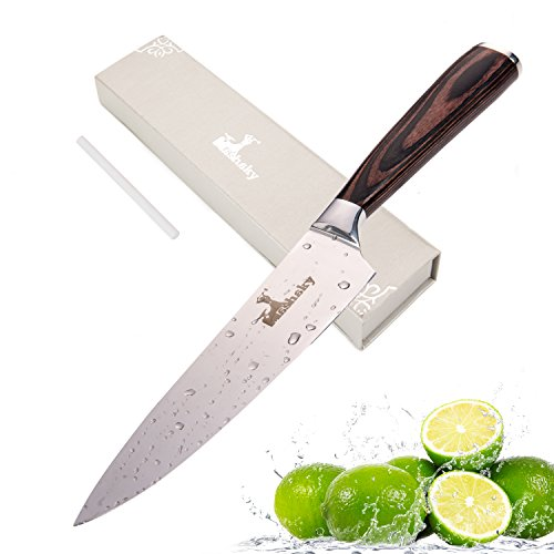 Professional Chef's Knife | Stainless Steel Cutter with Mirror Finish Blade and Ergonomic Pakka Wood Handle + Ceramic Honing Rod by Mashaky