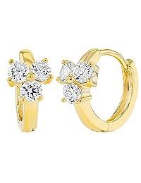18k Gold Plated Small Clear Crystal Flower Huggie Hoop Girls Kids 8mm Earrings