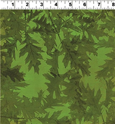 1 Yard Autumn Splendor by Barb Tortillotte from Clothworks Cotton Quilt Fabric Y1223-25 Dark Olive (Splendor Olive)
