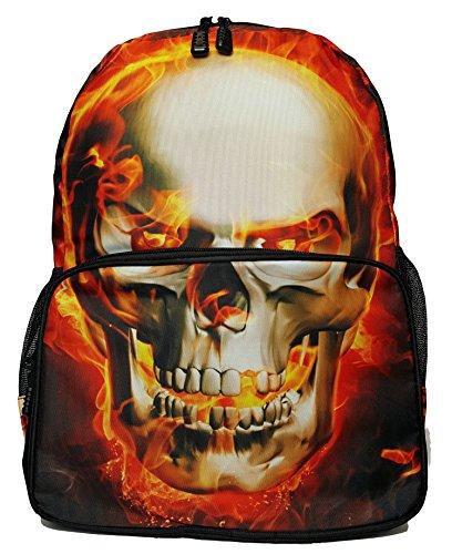 GFM Fashion 183 Rucksack Cartoon-Design DIN A4-Fächer Reißverschlusstaschen für Schule Freizeit vielseitig verwendbar Style 2 - Skull Fire