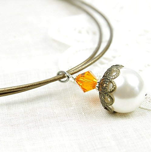 Swarovski Crystal Necklace White Freshwater Cultured Pearl Amber Brown Leather Sterling Silver (Romantic Boxed Leather)