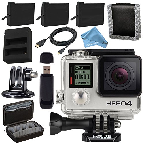 GoPro HERO4 Silver + Charger, Two Batteries, SD Card Reader
