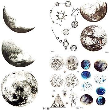 yyyDL tatuajes temporales 3D Ronda Luna Universo Estrella ...