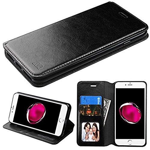 Wallet+Stylus Luxury PU Leather MYBAT Purse Clutch Fits iPhone Samsung LG Nokia HTC etc. Universal Book-style MyJacket Case with Card Slots Snap on, Cover Black Fits the Following Cell Phone Models: