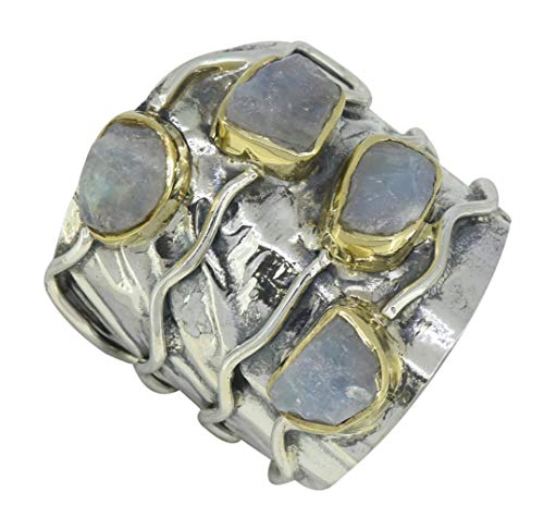 YoTreasure Rough Moonstone Solid 925 Sterling Silver Brass Vintage Band Ring