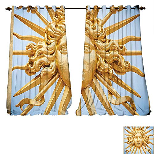 (Blackout Curtain Panels Window Draperies Chateau De Versailles Golden Gate Sky Monuments French Style Digital Printed for House ations Gold Blue Waterproof Window Curtain (W84 x L107 -Inch 2)