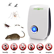 Ultrasonic Pest Repeller - Repels Against Mice, Rats, Roaches, Spiders, Fly, Ants, Fleas, Mosquitoes, Cockroach and all other small Insects - Keeps Your Family, Kids & Pets Clean, Safe & Healthy