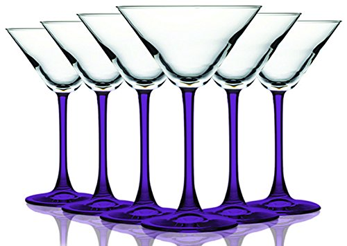 Purple Accent Stem 10 oz Martini/Cocktail Glasses - Set of 6 by TableTop King - Additional Vibrant Colors -