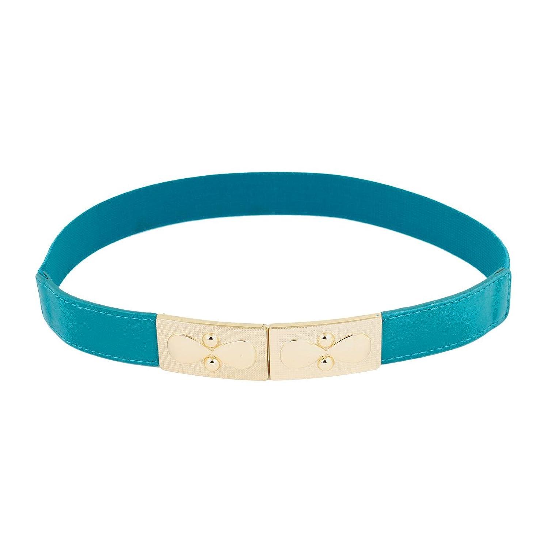 Bowknot Metal Interlocking Buckle Skinny Stretch Waistband Belt for Ladies