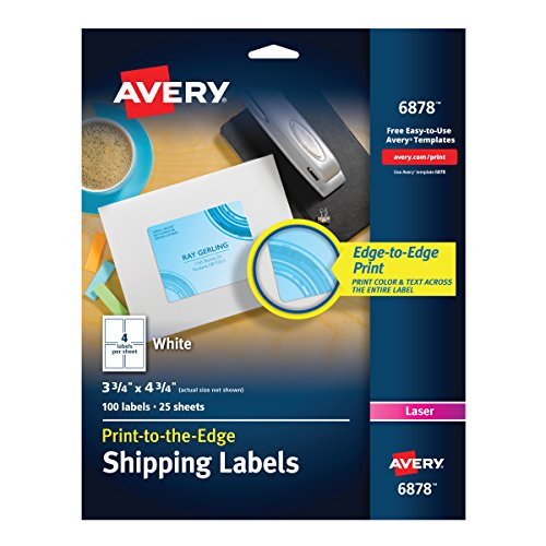 Avery Print-to-the-Edge Shipping Labels for Color Laser Printers and Copiers, 3.75 x 4.75 Inch, Pack of 100 (Avery Copier Address Label)