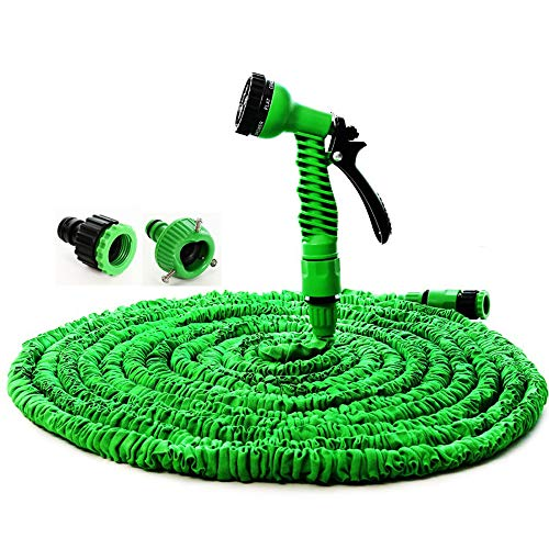 Expandable Garden Hose, 25FT-250FT Strongest Expanding The Market with Triple Layer Latex Core Latest Improved Extra Strength Fabric Protection for Your Needs (Green,100FT/Full of Water 30M)