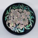 Mother of Pearl Black White Flower Makeup Compact Round Cosmetic Hand Mirror