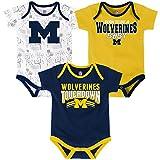 """NCAA Michigan Wolverines Children Boys """"Playmaker"""" 3Piece Onesie Set, 12 Months, Dark Navy"""