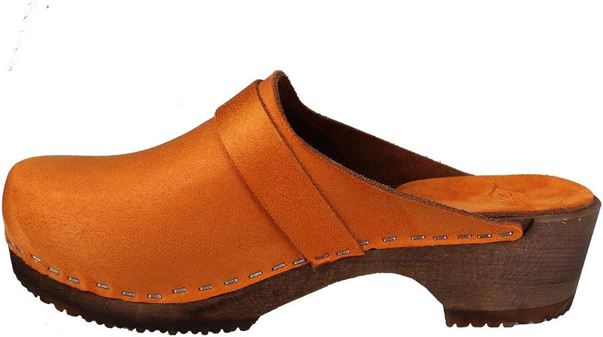 Lotta From Stockholm Swedish Elsa Clogs in Orange Stain Resistant Nubuck on Brown Base