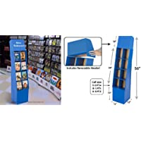 Displays2go Free-Standing 8-Pocket DVD/Blu-ray Point of Purchase Display Stand Corrugated Cardboard Shelving Bin with Removable Header, Royal Blue