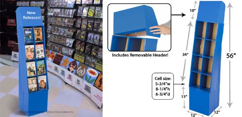 Displays2go Free-Standing 8-Pocket DVD/Blu-ray Point of Purchase Display Stand Corrugated Cardboard Shelving Bin with Removable Header, Royal Blue by Displays2go