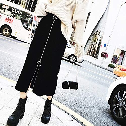 (Women Long Skirt Lady Cotton Solid High-Waisted Zipper Slim Fit A-Line Knee-Length Wrap Skirt Fashion Casual Dress)