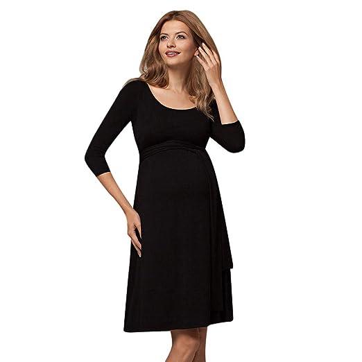 5466b2965c9 Amazon.com: Connia Maternity Breastfeeding Dress Casual Fall Winter 3/4  Sleeve O-Collars Wrinkle Multifunction Homewear Dresses: Clothing