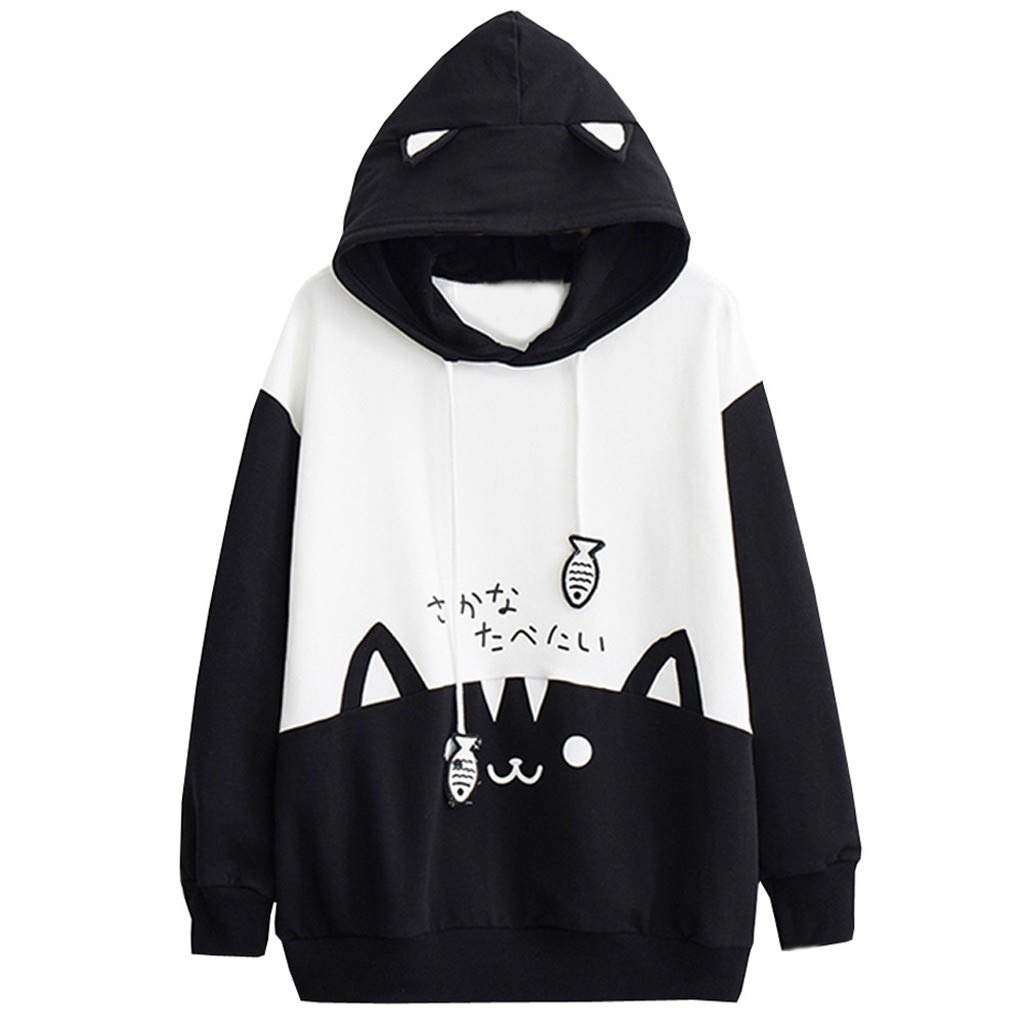 ✪COOLGIRLS✪~Clothing Womens Casual Long Sleeve Kitty Cat Print Pocket Thin Hoodie Blouse Top Shirt Black by ✪COOLGIRLS✪~Clothing