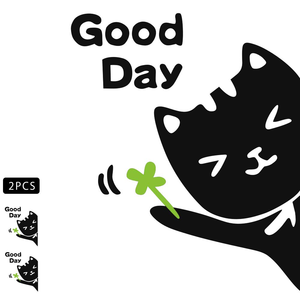 1797 Car Decals Accessories Vehicle Stickers Decorations Cute Cat Four Leaf Clover Lucky Good Day PVC Funny Animal Door Bumper Laptop Windows Trunk Tailgate PC Waterproof Cool Black Green Pack of 2