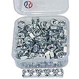 Boeray 100pcs Silver Carbon Steel M5 Thread Square Nut Kit
