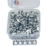 Boeray 100pcs Silver Carbon Steel M5 Thread Square Nut Kit
