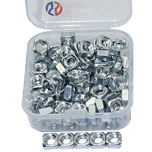 Boeray 100pcs Silver Carbon Steel M5 Thread Square Nut Kit by Boeray