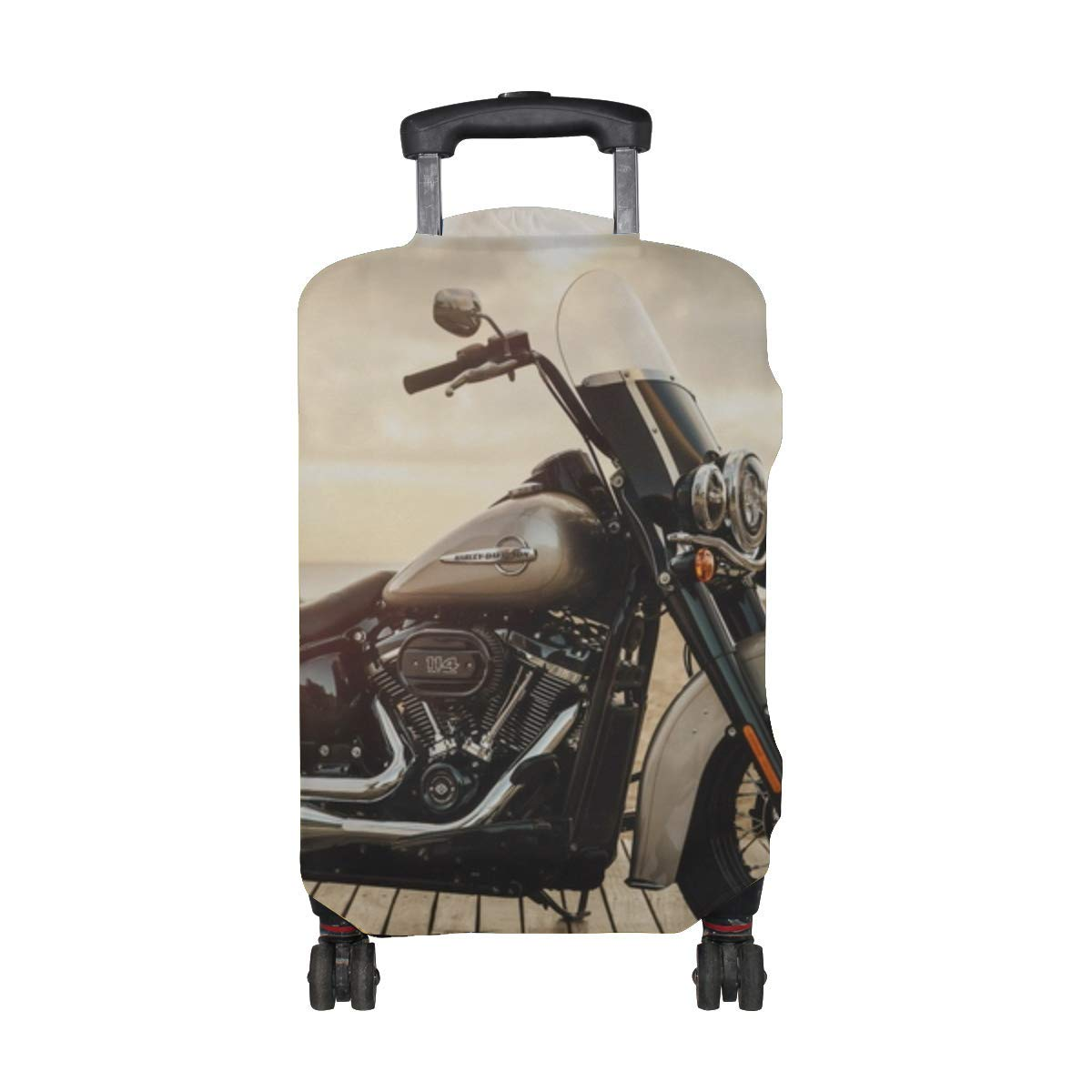 Harleydavidson Motorcycle Bike Pattern Print Travel Luggage Protector Baggage Suitcase Cover Fits 18-21 Inch Luggage
