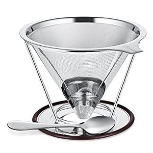 Bernito Stainless Steel Pour Over Coffee Dripper - Paperless Reusable Pour Over Coffee Filter and Double Mesh Coffee Maker with Stand and Spoon