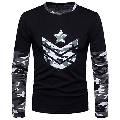 Clearance Sale Mens T Shirts vermers Fashion Mens Autumn Camouflage Print Joint Long Sleeve Sweatshirts Top Blouse(L, Gray) by vermers