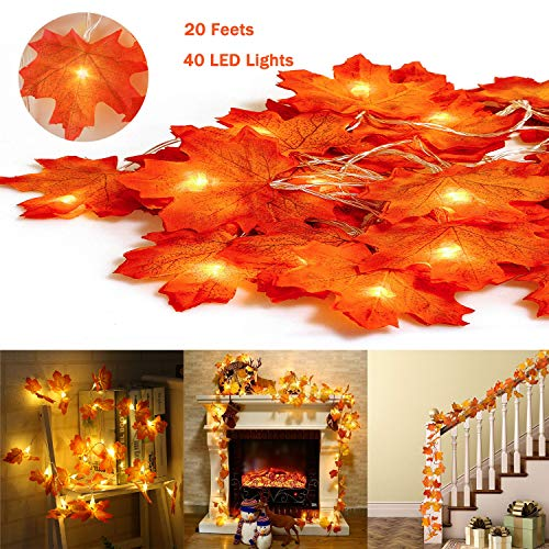 2 Pack Fall Maple Leaves String Lights,20 Feet 40 LED Waterproof Maple Leaf Garland Lights,3AA Battery Powered Decorations Lights for Indoor Outdoor Autumn Harvest Thanksgiving Christmas Decor (Powered Battery Garland)