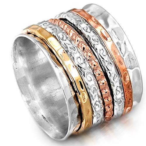 Boho-Magic Spinner Ring for Women | 925 Sterling Silver Ring with Copper, Brass & Silver Spinning Bands | Wide Fidget Meditation Anxiety Jewelry | Size 6-10 (9) ()