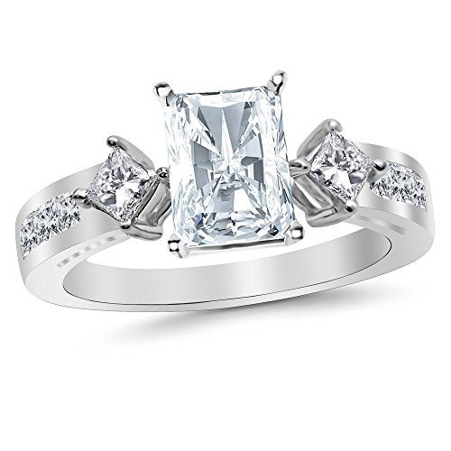 3.26 Ctw Platinum Channel Set 3 Three Stone Princess Radiant Cut GIA Certified Diamond Engagement Ring (2.51 Ct I Color VS2 Clarity Center Stone) (Radiant Cut Three Stone Diamond Engagement Rings)