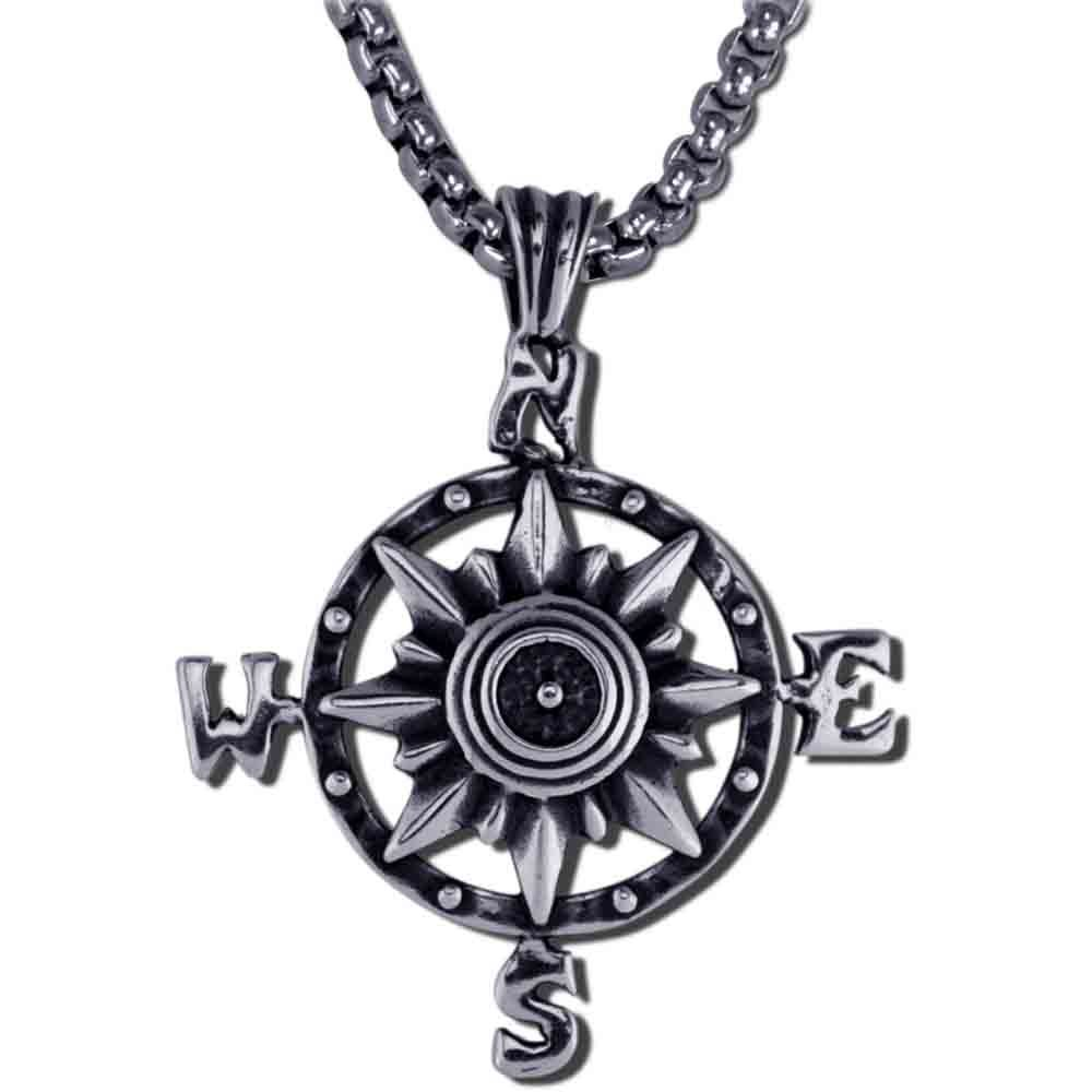 Sterling Silver Nautical Compass Pendant & Box Chain - DeluxeAdultCostumes.com
