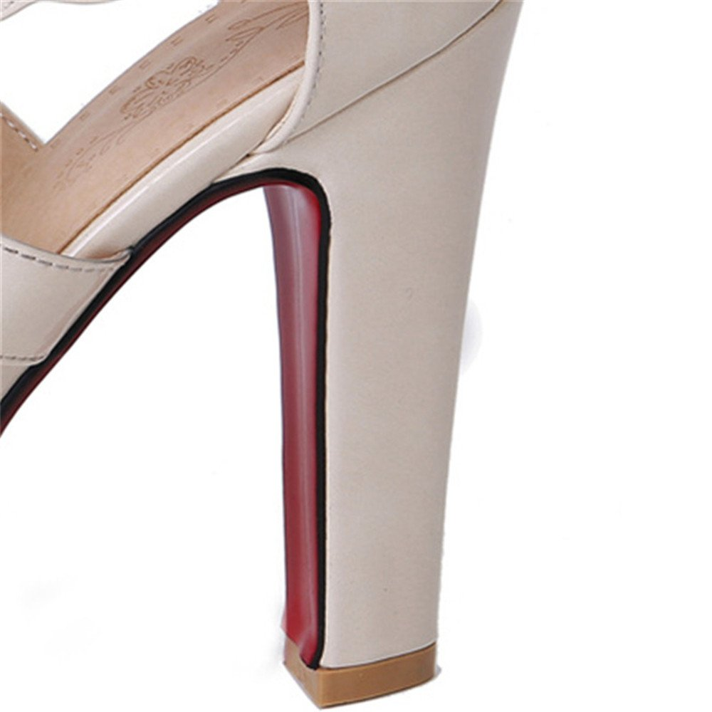 Mode Frauen Plattform Super Ankle High Heels Sandaletten Ankle Super Wrap Zip Schuhe Schuhe Damen Schuhe US6.5-7 / EU37 / UK4.5-5 / CN37 8b833f