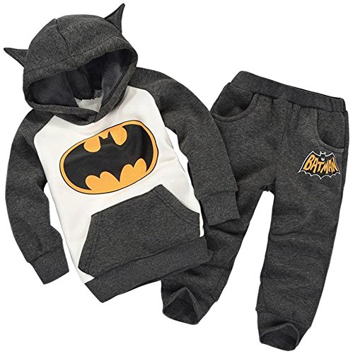 Bettyhome Unisex Kids Baby Warm Batman Sport Outfits Tracksuit Clothing Plush Hoodies Pants 2pcs Set (100#(height:33.46~35.43 in), (Bat Man Outfit)