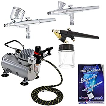 Image of Airbrush Materials 3 Airbrush Professional Master Airbrush Multi-Purpose Airbrushing System Kit - G22, G25, E91 Gravity & Siphon Feed Airbrushes, Hose, Air Compressor, Airbrush Holder