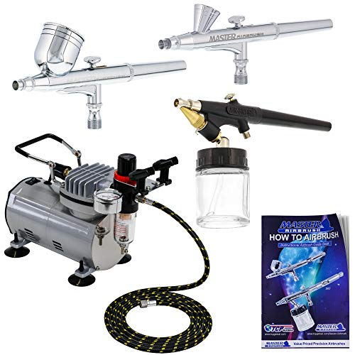 3 Airbrush Professional Master Airbrush Multi-Purpose Airbrushing System Kit - G22, G25, E91 Gravity & Siphon Feed Airbrushes, Hose, Air Compressor, Airbrush Holder - How-to-Airbrush Guide Booklet ()
