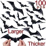 Ivenf Halloween Bat Wall Decals Stickers Decor, 100 Pack Extra Large 3D Bats Window Decals, Bat Halloween Decorations Door