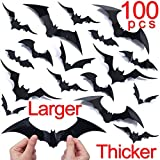 Halloween Bat Wall Decals Stickers Decor, 100 Pack Extra Large 3D Bats Window Decals, Bat Halloween Decorations Door