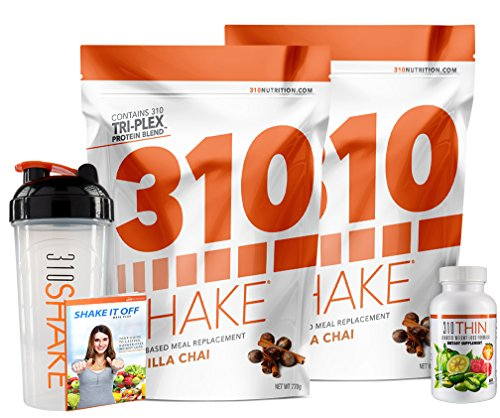 310 Nutrition, 310 Shake Gluten Free, Soy Free and Sucralose Free Healthy Meal Replacement 2-Pack + 310 Thin + Free Shaker and eBook, Vanilla Chai, 28 Servings by 310 Nutrition