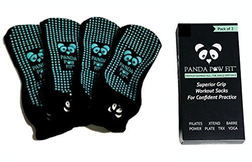 Bamboo Yoga Socks Non-Slip Full Toe Grip for Pilates, Barre and Hospital Rehab (2 Pack Black Mint, S/M Women 4-11 / Men 4-9)